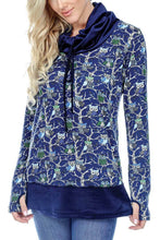 Women's Clothing | Woman's Contemporary Fashion | Owl Print Cowl Neck Tunic Stitching Hem