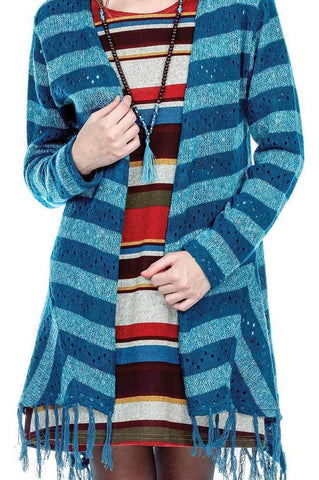 Women's Clothing | Woman's Contemporary Fashion | Casual Striped Long Cardigan Fringed Hem