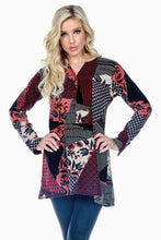 Button Up Patch Print V-Neck Tunic Waist Ruffle