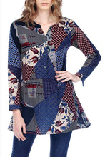 Button Up Patch Print Tunic