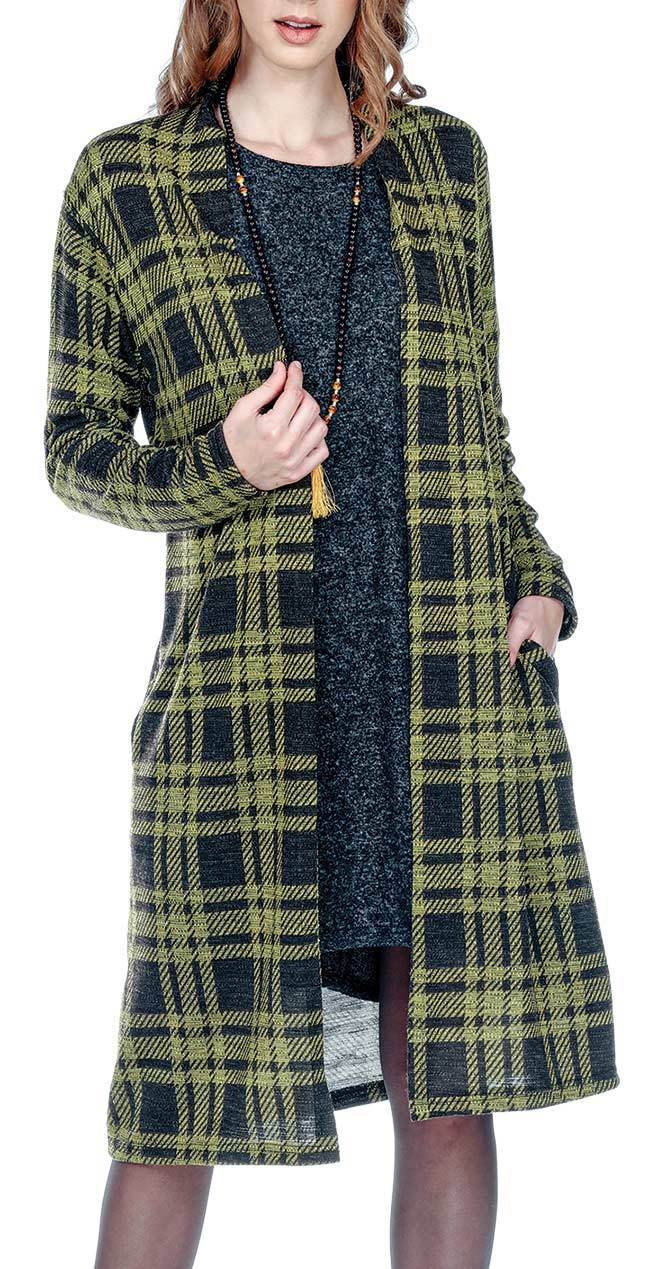 Long Plaid Cardigan With Inseam Pockets