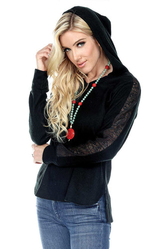 Hoodie With Lace Detail On Sleeves