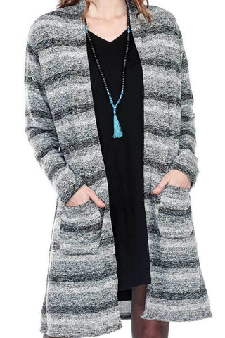 Striped Long Cardigan With Patch Pockets