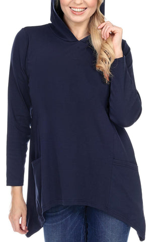 Women's Clothing | Woman's Contemporary Fashion | Fine Cotton Hoodie Loose Fit With Pockets