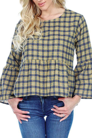 Women's Clothing | Woman's Contemporary Fashion | Plaid Cotton Top Bell Sleeves Ruffle Waist
