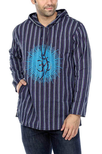 Striped Om Hooded Shirt