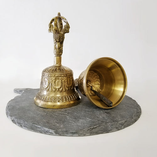 Brass Tibetan Bell Carved