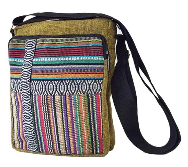 STRIPED POCKET GHERI MESSENGER BAG