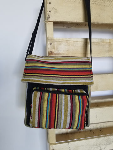 Striped Messenger Bag