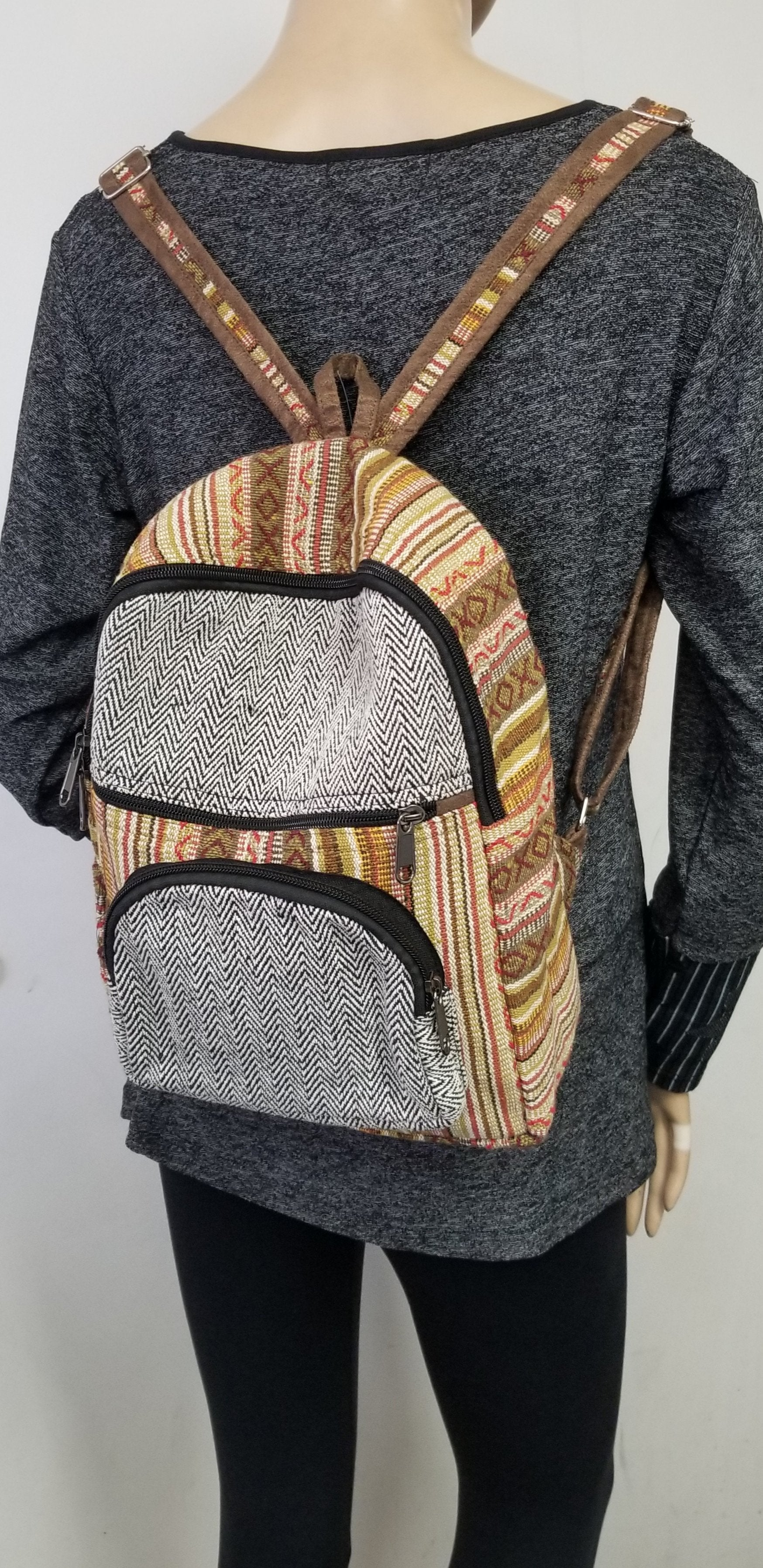 Rasta Bag | Gheri Mini Backpack Multi Color Striped Design