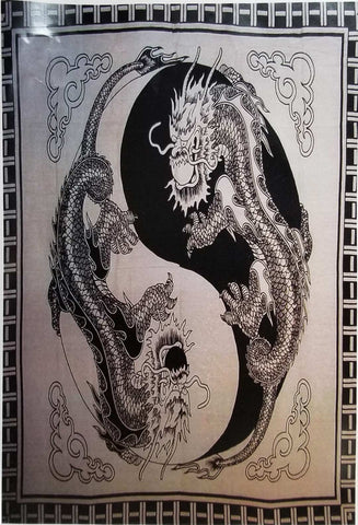 Yin Yang  Dragons Tapestry