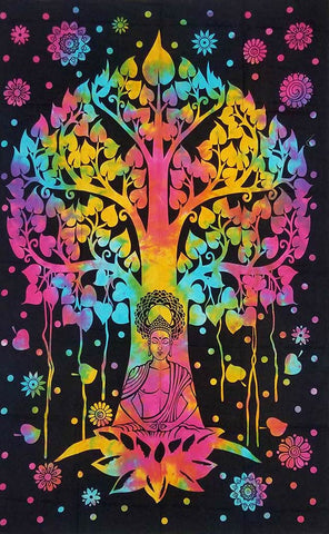Tree Of Life With Buddha Meditation Tapestry