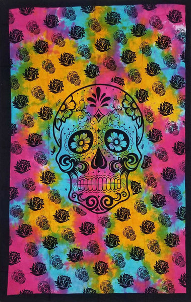 Floral with Skull Tapestry