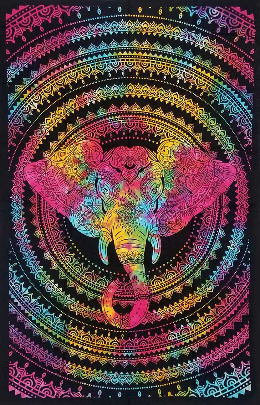 Goddess Of Elephants Mandala Tapestry