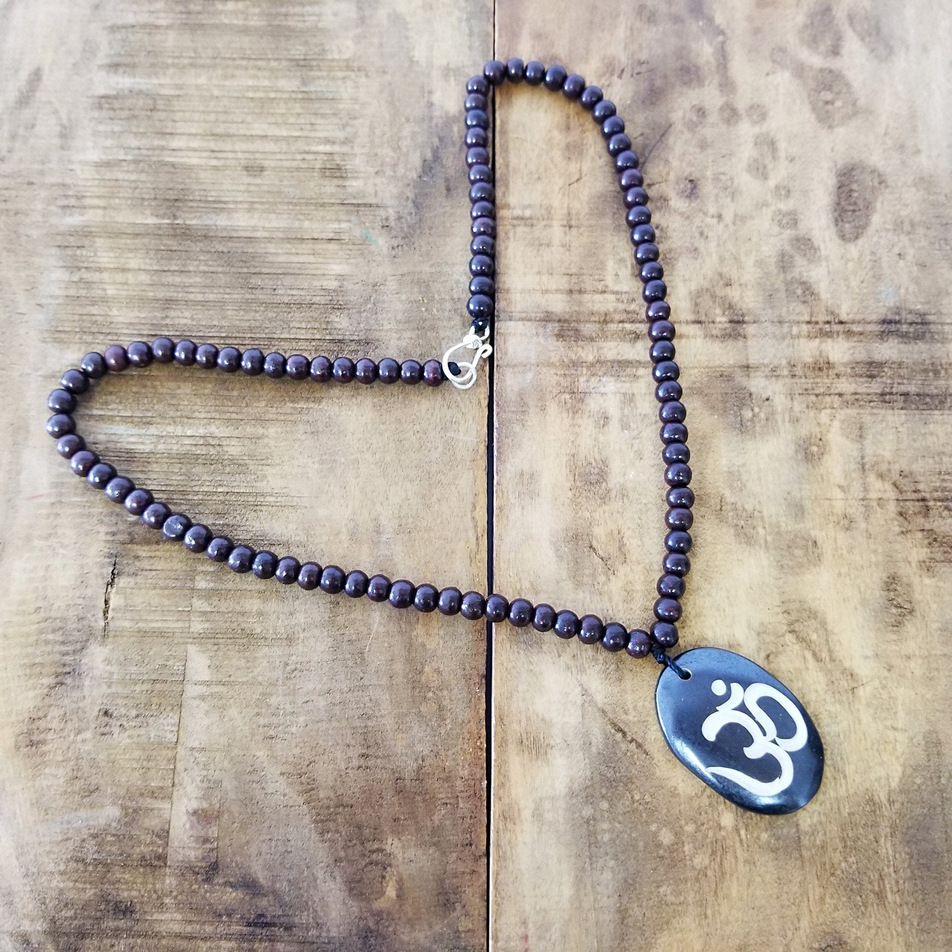 """OM"" CARVED NECKLACE ROSE WOOD BEADS"
