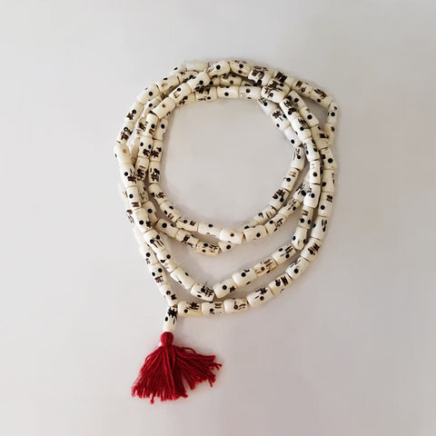 HAND CARVED BONE SKULL MALA