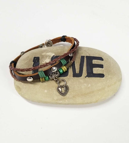 Yaknyeti  Accessories | Mala | Bracelet Multi Layer Leather Love Heart Charm With Snaps