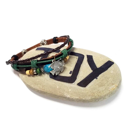 Yaknyeti  Accessories | Mala | Bracelet Multi Layer Leather Good Luck Fish Charm Adjustable