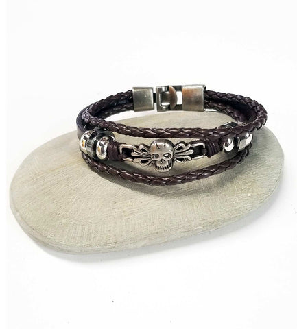 Yaknyeti  Accessories | Mala | Bracelet Multi Layer Leather Protection Skull Charm