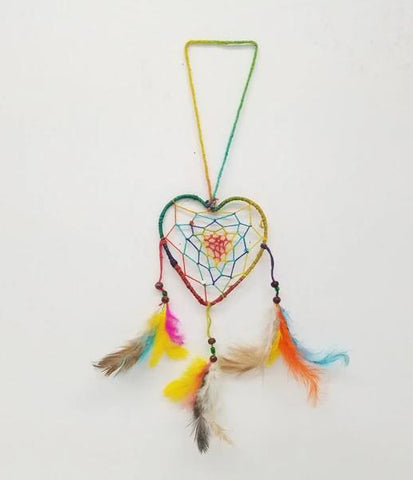 Home Decoration | Wall Hanging | Heart Dream Catcher With Feathers