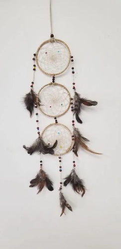 Triple Dream Catcher Multi Color Feathers