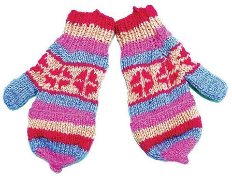 WOOL MITTENS FINGER COVER FLAP MULTICOLOR