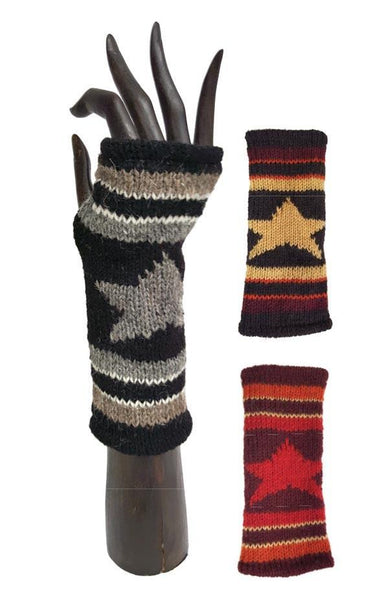 STAR STRIPED HANDWARMERS WOOL FLEECE LINED