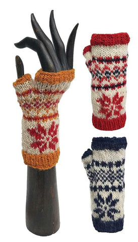 SNOWFLAKE HANDWARMERS WOOL FLEECE LINED