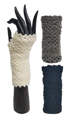 PLAIN CROCHET HANDWARMERS WOOL FLEECE LINED