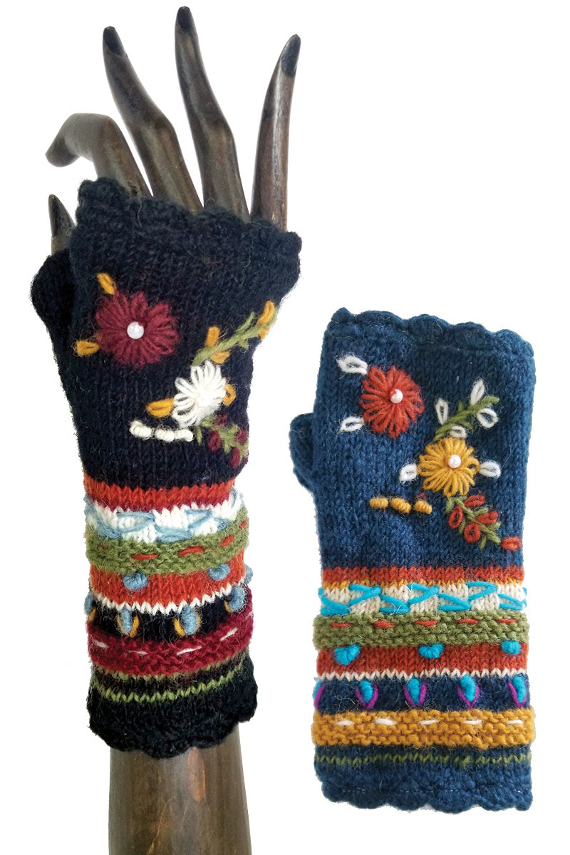 Floral Finger Less Knit Hand Warmers