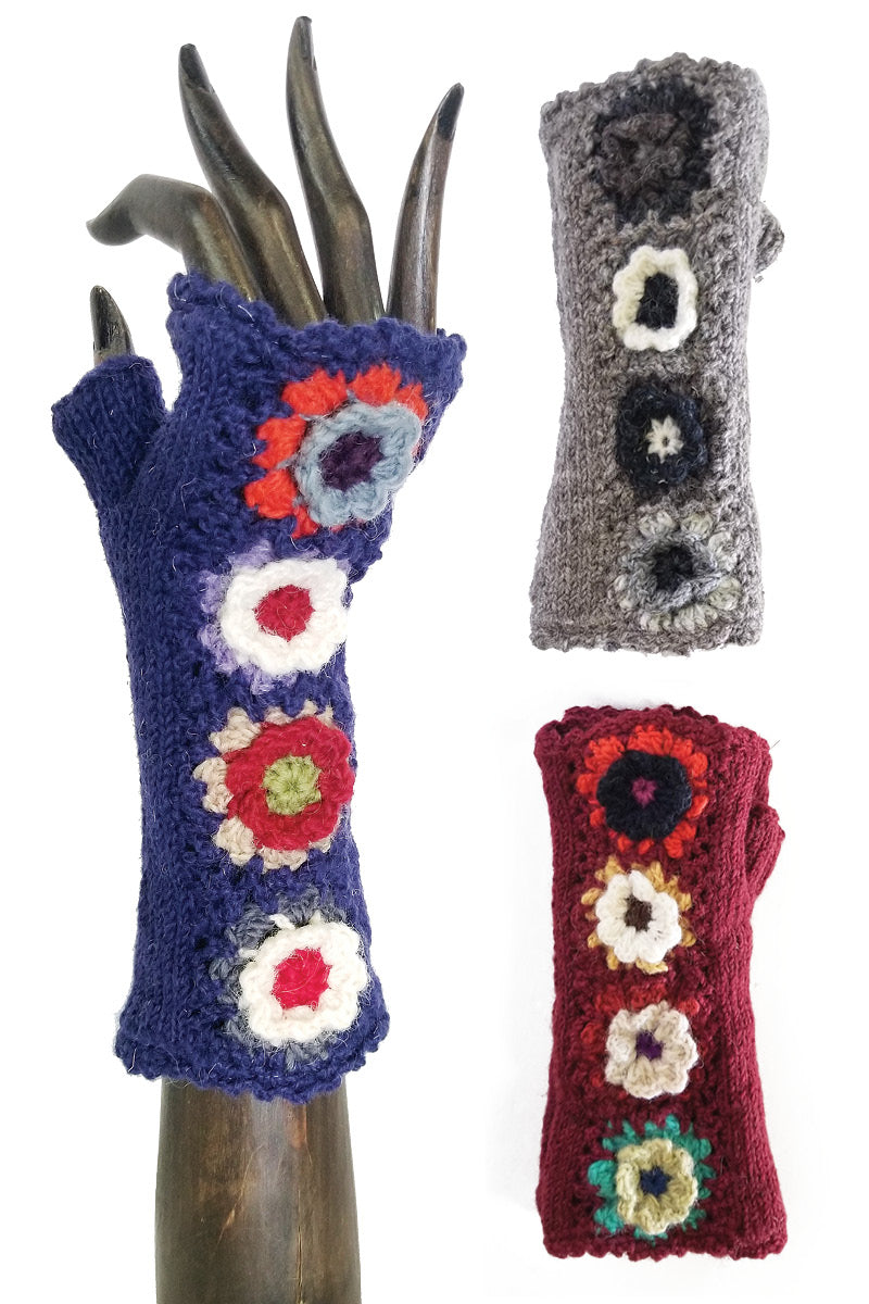 Floral Crochet Handwarmers Wool Fleece Lined