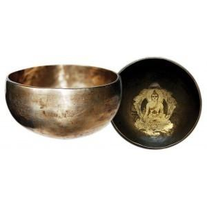 LARGE HAND BEATEN CARVED BUDDHA SINGING BOWL