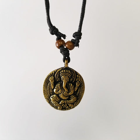 Brass Ganesh Necklace Adjustable Cord