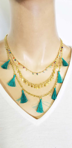 Necklace Three Layers Tassels