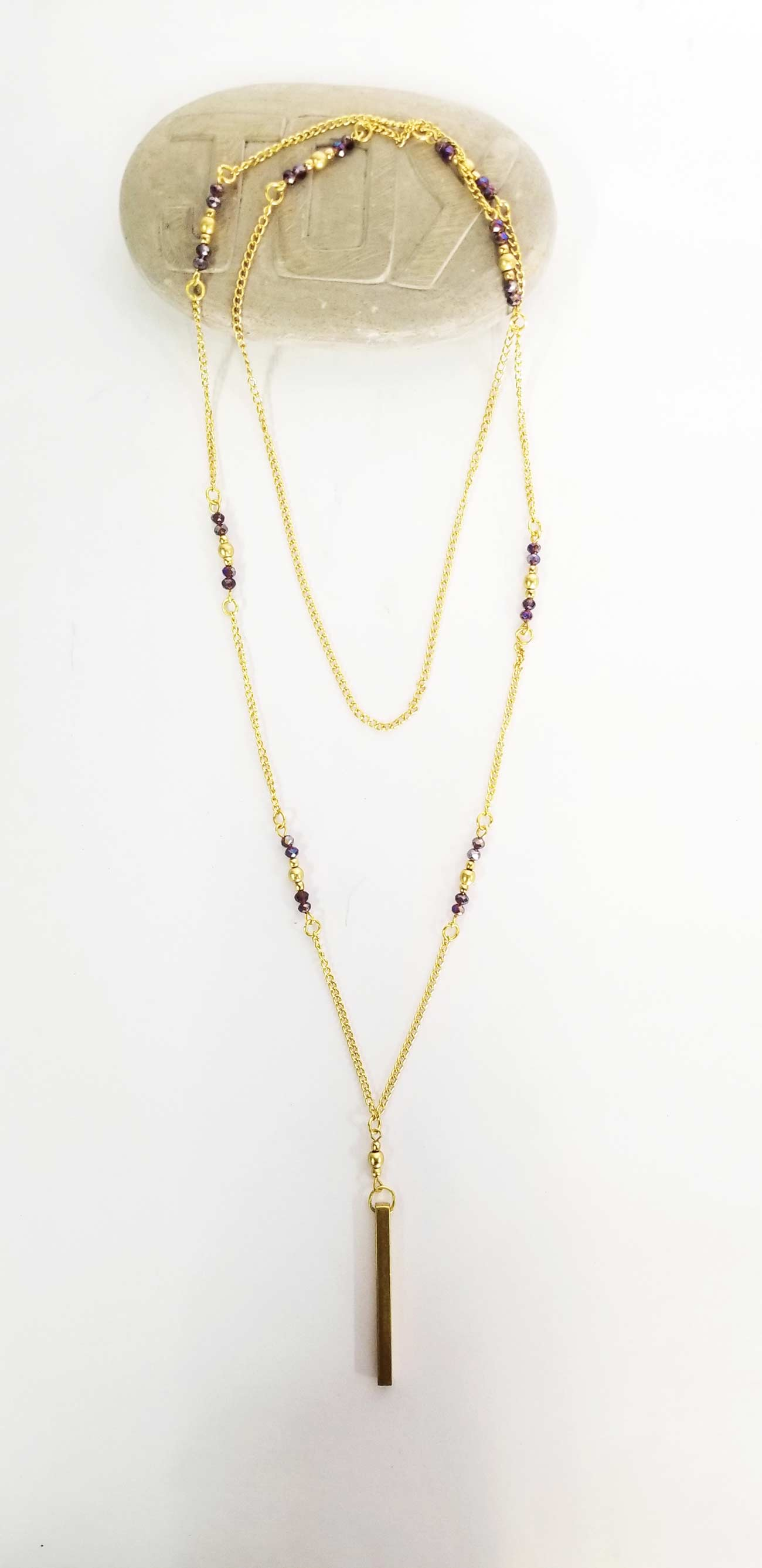Long Necklace Purple Beads