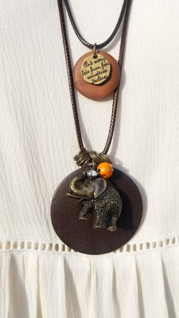 DOUBLE LAYER ELEPHANT CHARM NECKLACE