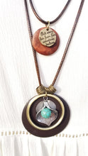 DOUBLE LAYER FLOWER TURQUOISE COLOR STONE CHARM NECKLACE