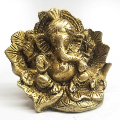 Statue | Home Decoration | Ganesh statue | Brass Blessing Ganesh In Leaf