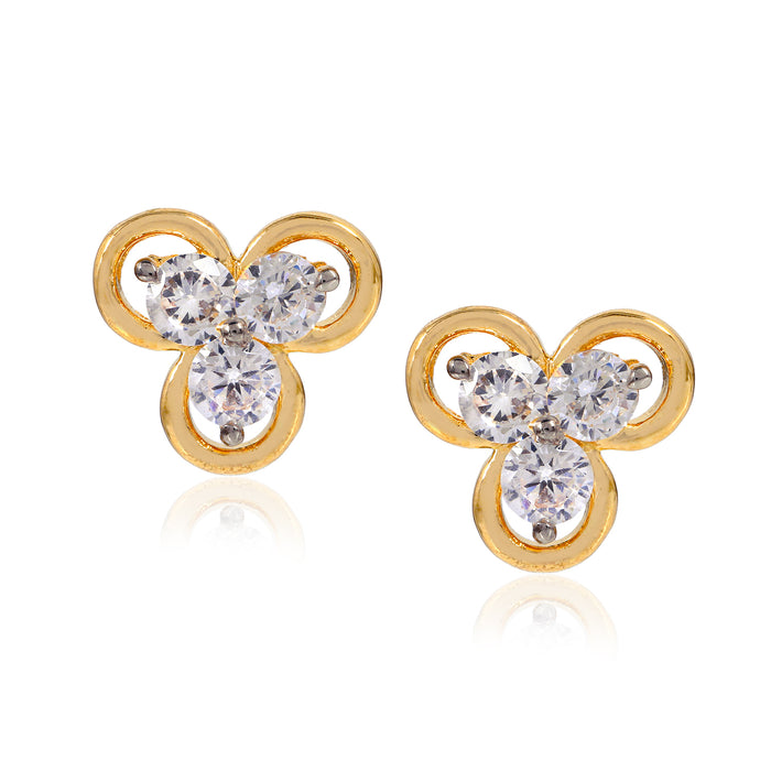 Floral AD Crystal Stud Earrings