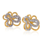 Floral Shape AD Crystal Stud earrings