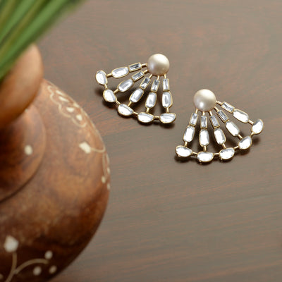 Aiyna Pearl Deco Statement Studs