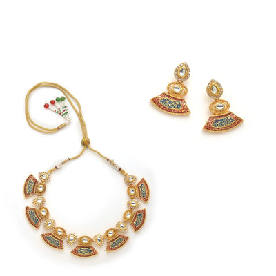 Antique Gold Plated Kundan Traditional Necklace Set