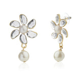 Aiyna Flower Pearl Drop Studs