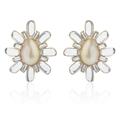 Mirror Stone Earring with Pearl