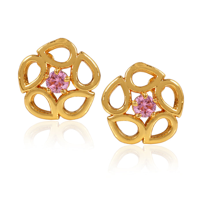 Gold Plated Lovely Floral Opal Stud Earrings
