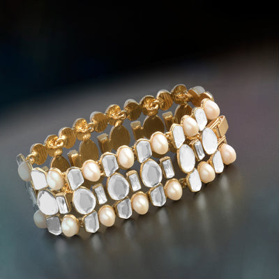 Aiyna Pearl and Speculum Statement Bracelet
