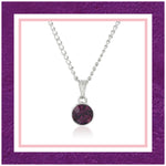 ESTELE  AMETHYST SWAROVSKI BIRTHSTONE PENDANT NECKLACE FOR WOMEN