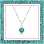 ESTELE AQUAMARINE SWAROVSKI BIRTHSTONE PENDANT NECKLACE FOR WOMEN
