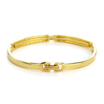 Gold And Silver Plated White Crystal Stone Bangle Bracelet