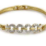 Gold Plated White Crystal Stone Womens Bangle Bracelet
